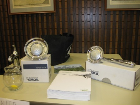 A Kohler representative was present and raffled off a hand shower and shower-head.