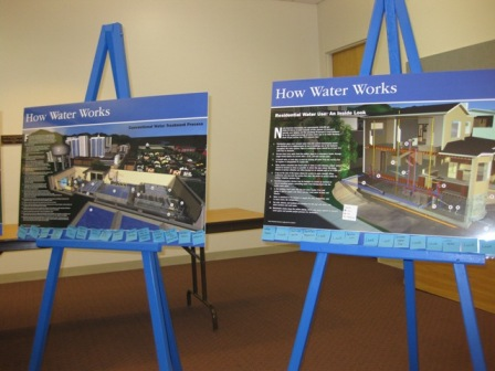 How Water Works poster matching activity- a participant matched the blue notes at the bottom of the poster to the action that is taking place above. Posters included a Typical Water System, the Water Treatment Process, and Residential Water Use. For the residential poster, the participant also placed Leak notes where they thought leaks might occur in their house.